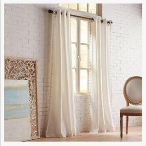 Pier 1 Mila Pom Pom Ivory Grommet Curtain (Single)